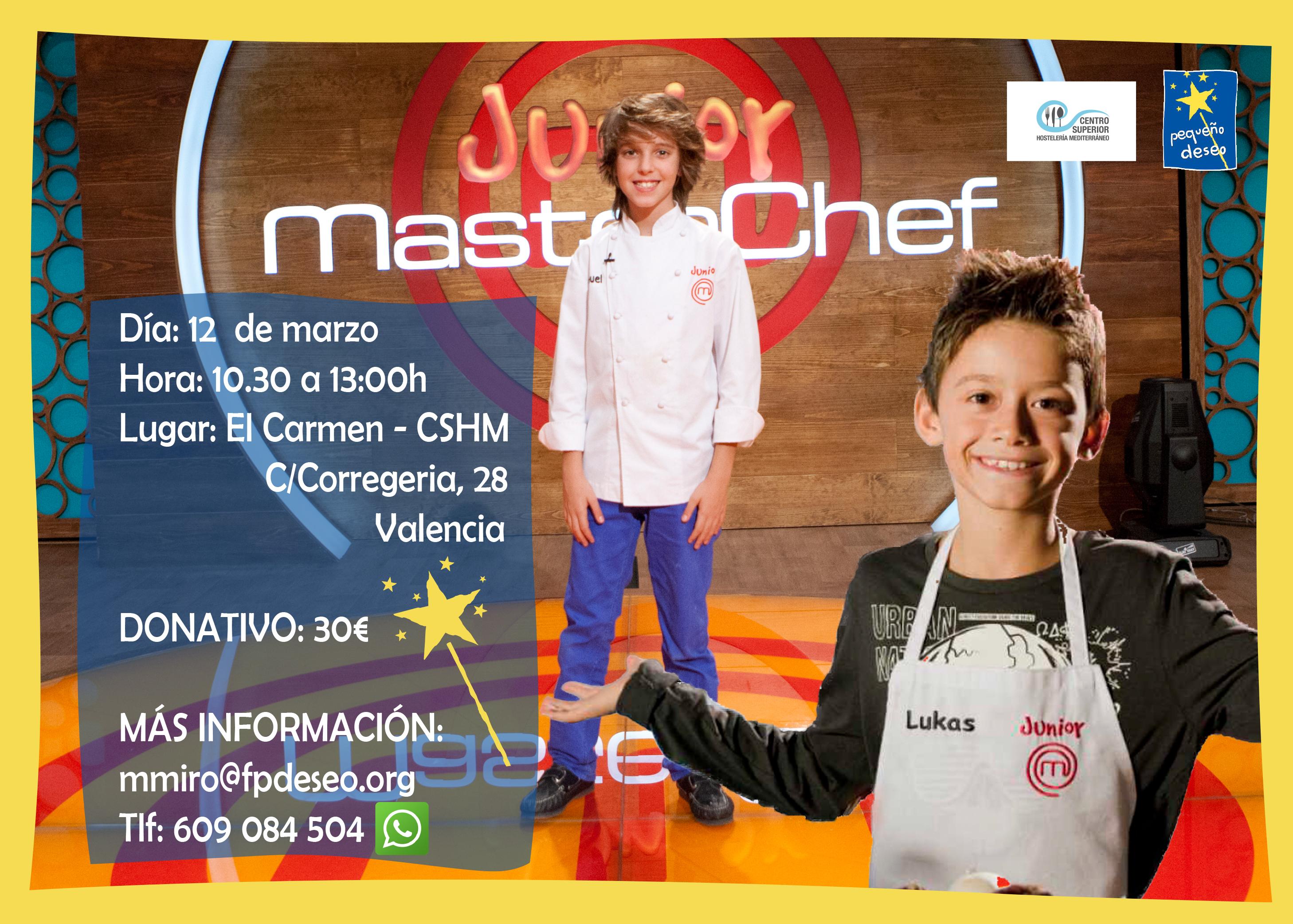 Manuel y Lukas, ganador y finalista de MasterChef Junior, impartirán una Masterclass solidaria para niños a beneficio de la Fundación Pequeño Deseo