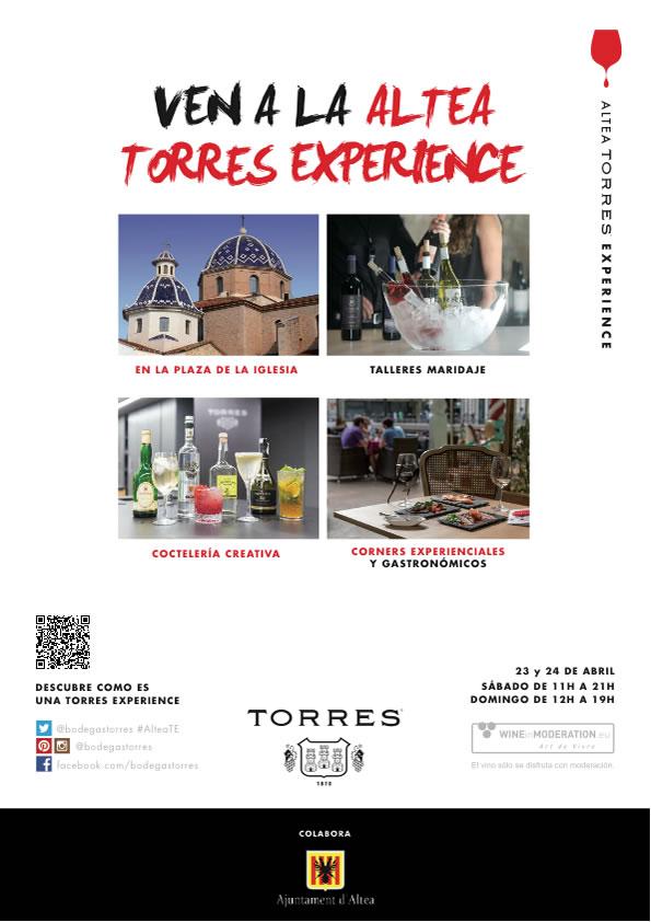 Altea acoge el 23 y 24 de abril la Torres Experience 2016, con más de 60 vinos y maridajes