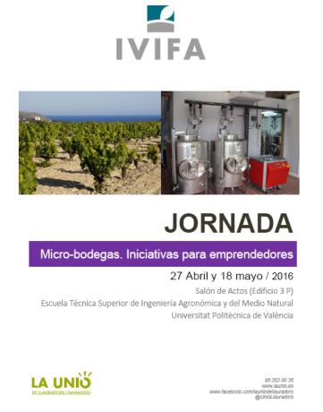 Cartel jornadas para micro-bodegas: Cartel que promociona el evento desarrollado por la Unió de Llauradors.