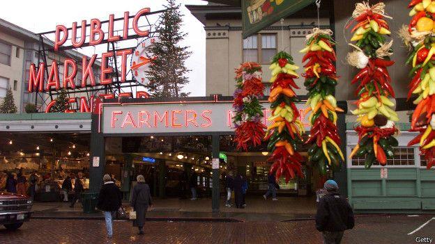 El Pike Place Market de Seattle es una amalgama de estilos.