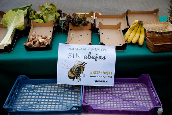Madrid. 10.05.14. Campaña de protección a las abejas en el Mercado de San Miguel. © GREENPEACE HANDOUT / JOSE BIENVENIDO- NO SALES - NO ARCHIVES -EDITORIAL USE ONLY - FREE USE ONLY FOR 14 DAYS AFTER RELEASE - PHOTO PROVIDED BY GREENPEACE - AP PROVIDES ACCESS TO THIS PUBLICLY DISTRIBUTED HANDOUT PHOTO TO BE USED ONLY TO ILLUSTRATE NEWS REPORTING OR COMMENTARY ON THE FACTS OR EVENTS DEPICTED IN THIS IMAGE.