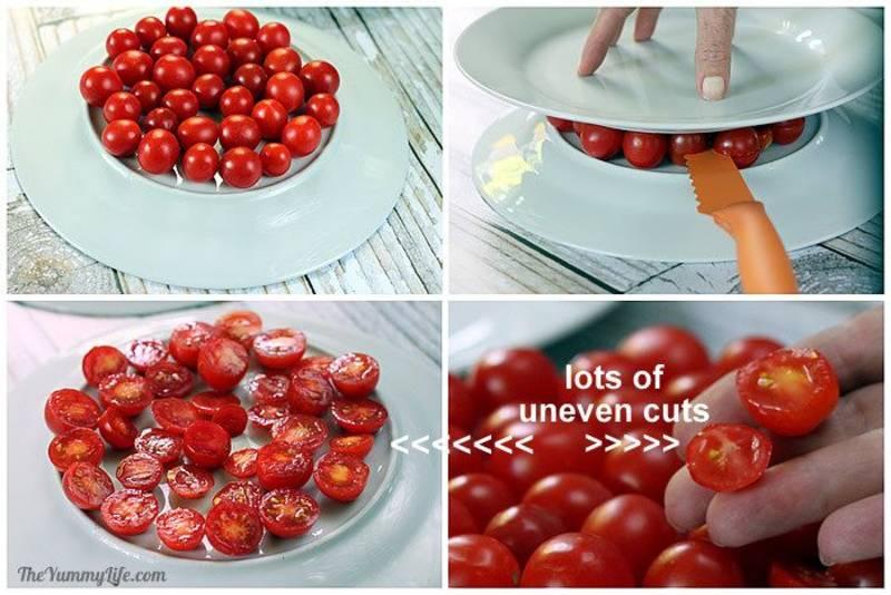 Utiliza dos platos para cortar perfectamente uvas o tomates cherry