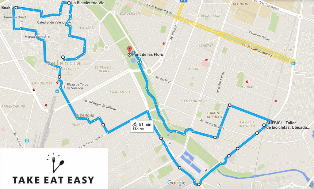 Mapa Valencia Bike Experience