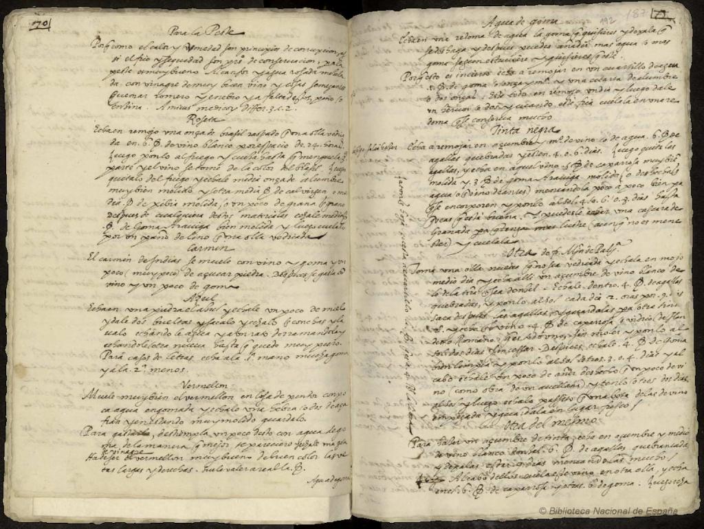 Recetas de tinta negra y otros colores (Juan Vásquez de Mármol, s.XVI)
