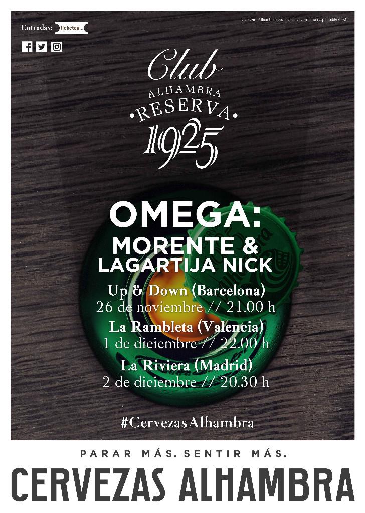 El aniversario de 'Omega' junto a Club Alhambra Reserva 1925 llega a Valencia y Madrid