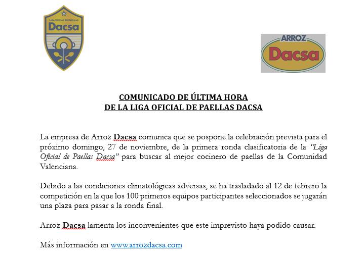 Comunicado de última horade la liga oficial de paellas Dacsase pospone la celebración prevista para el próximo domingo, 27