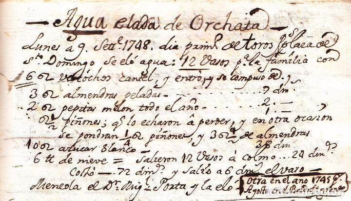 La primera receta de horchata de la historia Valencia año 1748 siglo XVIII