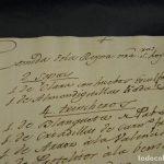 Uno de los primeros manuscritos de la paella valenciana arroz Menu Reina de España 1789 Madrid XVIII