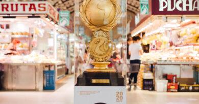 Hasta el próximo sábado, se exhibirá en el Mercado Central la Copa del primer Mundial de Paella