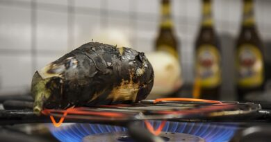 Berenjena a la llama con bonito en aceite y vinagreta de cacahuetes y altramuces maridada con Amstel Radler