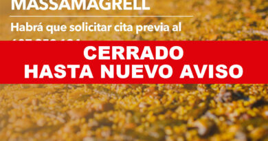 Massamagrell cierra temporalmente sus paelleros ante la alta demanda por parte de los vecinos de otras localidades